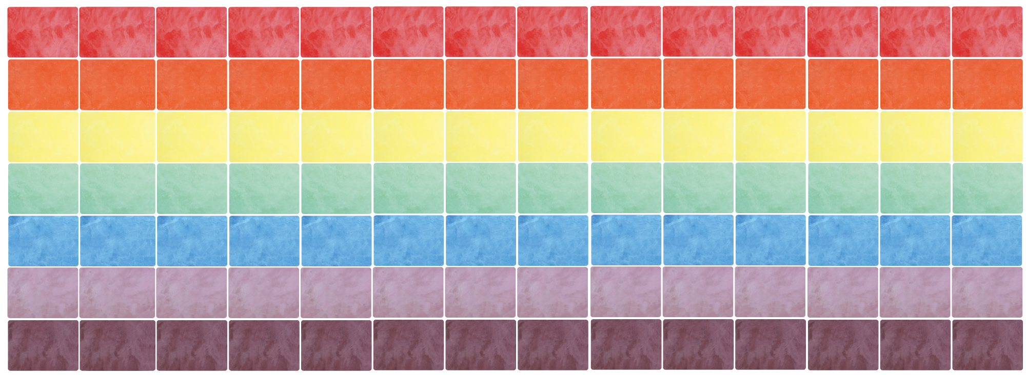 Rainbow order colour chart showing some of the colour options available from Masters of Marble.